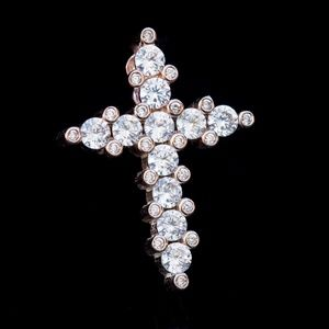 Other - 14k Rose Gold Plated Small Cz Mini Cross Pendant